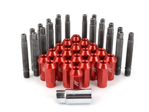 ES#2959726 - 001467ecsr2KT - Wheel Stud Conversion Kit - full Set - ECS wheel studs with red Mishimoto Aluminum lug nuts! - Assembled By ECS - BMW