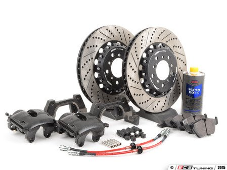 ES#2807474 - 001121ecs02KT - Front CSL Big Brake Kit (345x28) - Upgrade to ECS 2-piece E46 M3 CSL rotors for increased brake torque and thermal capacity. Includes everything you need - including brand new calipers and Hawk HPS brake pads! - ECS - BMW