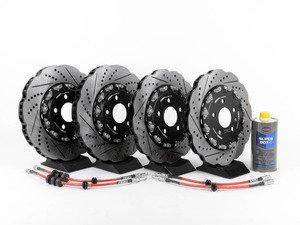 ES#2960542 - 8K0698301MKT7 - Front & Rear Brake Kit - Stage 1 - 2-Piece Tru-Float Wave Brake Rotors - Upgrade your brake system with Tru-float drilled & slotted rotors and stainless steel lines - ECS - Audi
