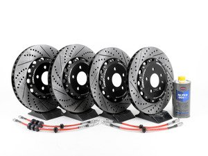 ES#2960509 - 8k0698301mkt6 - Front & Rear Brake Kit - Stage 1 - 2-Piece Cross Drilled & Slotted Rotors - Upgrade your brake system with 2-piece rotors and stainless steel lines - ECS - Audi
