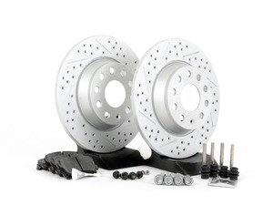 ES#2586557 - HB544F.628DSKT - Performance Rear Brake Service Kit (282x12) - Featuring ECS GEOMET cross drilled & slotted rotors and Hawk HPS pads - Assembled By ECS - Volkswagen