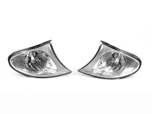 ES#2808237 - 4441511PXUE7 - clear Corner Assembly w/ chrome housings - Pair - Direct replacements for the stock amber corner lights - Depo - BMW