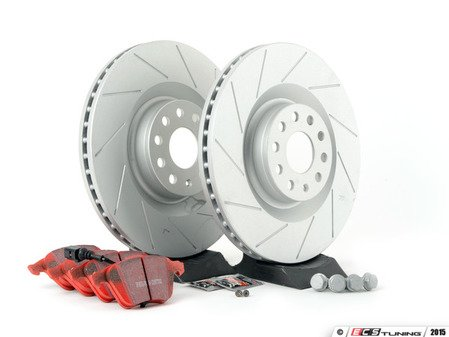 ES#2893846 - 1K0615301M3KT - performance front brake Service Kit (345x30) - Featuring ECS GEOMET slotted rotors and EBC RedStuff pads - Assembled By ECS - Volkswagen