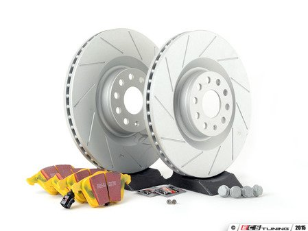 ES#2893847 - 1K0615301M4KT - performance front brake Service Kit (345x30) - Featuring ECS GEOMET slotted rotors and EBC YellowStuff pads - Assembled By ECS - Volkswagen