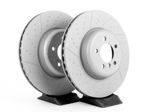 ES#2918586 - 34106797603zKT - Front Brake Rotors - Pair - Race quality braking option, cross drilled & slotted (370x30). One piece design. - Zimmermann - BMW