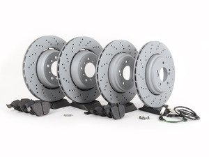 ES#2712831 - 34212283803KT2 - Performance Front & Rear Brake Service Kit - Featuring front and rear OEM Zimmermann rotors and Hawk HPS pads - Assembled By ECS - BMW