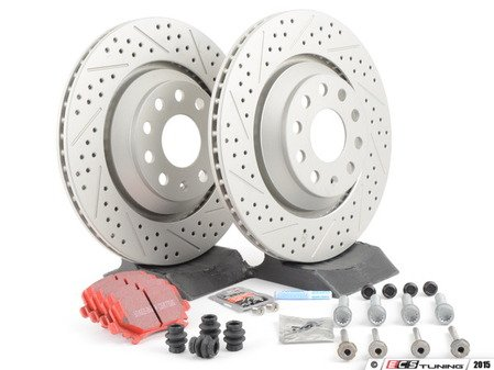 ES#2893859 - 1K0615601N5KT - Performance Rear Brake Service Kit - Featuring ECS GEOMET drilled & slotted rotors and EBC RedStuff pads - Assembled By ECS - Volkswagen