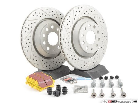 ES#2893860 - 1K0615601N6KT - Performance Rear Brake Service Kit - Featuring ECS GEOMET drilled & slotted rotors and EBC YellowStuff pads - Assembled By ECS - Volkswagen