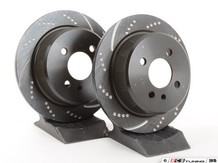 ES#521623 - GD135 - Rear Cross Drilled & Slotted Brake Rotors - Pair (258x10) - Upgrade to a slotted / dimpled rotor for improved braking - EBC - BMW