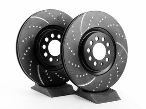 ES#522237 - GD930 - Front Dimpled & Slotted Brake Rotors - Pair (312x25) - Upgrade to a slotted / dimpled rotor for improved braking - EBC - Volkswagen