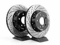 ES#2986304 - 010830ecs01KT - 2-Piece Lightweight rear Brake Rotors - Pair (336x22) - Direct bolt-on cross-drilled and slotted replacement offering a 3lbs weight savings per rotor! Better handling, better acceleration, and better braking! - ECS - BMW