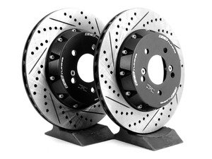 ES#2986326 - 011699ecsKT - 2-Piece Lightweight Rear Brake Rotors - Pair (328x20) - Direct bolt-on cross-drilled and slotted replacement - 2-piece semi-floating rotors offer reduced weight and additional cooling capacity versus OEM for improved braking, handling, and ride quality! - ECS - BMW