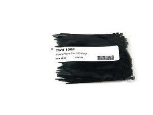 """ES#5839 - tw4 100p - Plastic Wire Tie-100 Pack - 1 pack of 100 4"""" black wire tie/straps - AFT - Audi Volkswagen"""