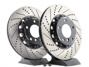 ES#2739176 - 003295ECS01KT - 2-Piece Lightweight Front Brake Rotors - Pair (325x25) - Direct bolt-on cross-drilled and slotted replacement offering a 4lbs weight savings per rotor! Better handling, better acceleration, and better braking! - ECS - BMW