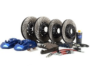 ES#2975728 - 004038ecs04KT - Front 6-Piston Big Brake Kit & Rear Brake Upgrade - Upgrade to blue 6-piston F10 M5 calipers, ECS 2-piece rotors in the front, ECS 2-piece rotors in the rear and stainless steel brake lines all around! Includes fluid and all hardware. - ECS - BMW