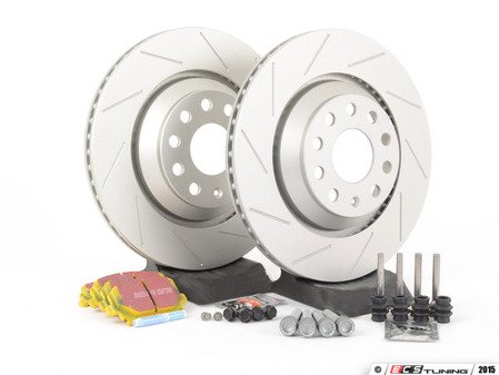 ES#2893856 - 1K0615601N3KT - Performance Rear Brake Service Kit - Featuring ECS GEOMET slotted rotors and EBC YellowStuff pads - Assembled By ECS - Volkswagen