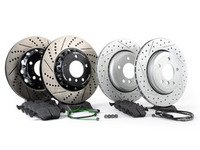 ES#2986614 - 34351164372KT6 -  Performance Front And Rear Brake Service Kit - Featuring front ECS 2-piece cross drilled and slotted rotors, rear ECS GEOMET rotors, and Hawk HPS pads - Assembled By ECS - BMW