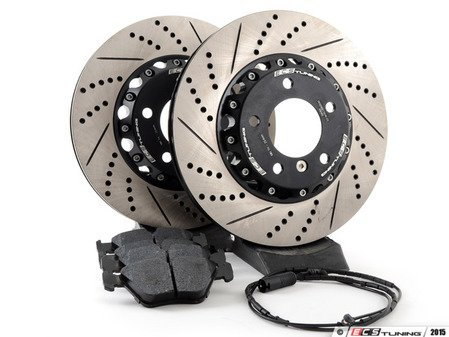 ES#2986615 - E4612347KT -  Performance Front Brake Service Kit - Featuring front ECS 2-piece cross drilled and slotted rotors and Hawk HPS pads - Assembled By ECS - BMW
