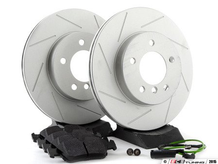 ES#2609217 - E463411KT9 - Performance Front Brake Service Kit - Featuring ECS GEOMET slotted rotors and Hawk HPS pads - Assembled By ECS -