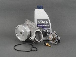 ES#2986551 - 11517548263KT2 - Water Pump And Low-Temperature Thermostat Kit - Includes everything you need to replace your water pump and 90C degree thermostat for reduced component stress and improved engine performance - Assembled By ECS - BMW