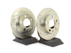 ES#2918943 - HR4751 - Rear Sector 27 Performance Rotors - Pair (232x9) - Featuring Hawk Sector 27 cross drilled and slotted rotors - Hawk - Audi Volkswagen