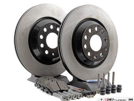 ES#2765860 - 1K0615601N - Rear Brake Service Kit - Featuring OP Rotors and Vaico Brake Pads - Assembled By ECS - Volkswagen