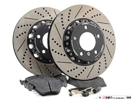 ES#2986619 - E4612348KT -  Performance Front Brake Service Kit - Featuring front ECS 2-piece cross drilled and slotted rotors and Hawk HPS pads - Assembled By ECS - BMW