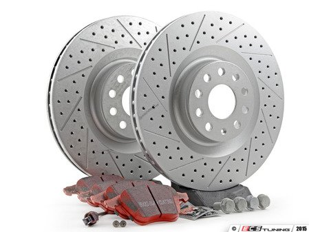 ES#2966320 - 1K0615301M10KT - Performance Front Brake Service Kit (345x30) - Featuring ECS GEOMET drilled and slotted rotors and EBC RedStuff pads - Assembled By ECS - Volkswagen