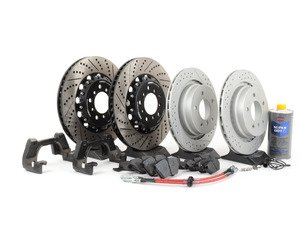 ES#2996606 - 001121ECS03KT4 - Performance Front & Rear Brake Service Kit - With ECS 2-piece E46 M3 CSL rotors for increased brake torque and thermal capacity. Includes ECS 2-piece rotors with ECS brackets for proper fitment, Exact-Fit brake lines, Hawk HPS pads, and Pentosin fluid. - ECS - BMW