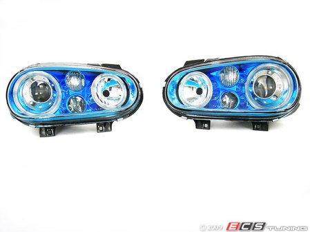 ES#9579 - FKFSVW105 - Angel Eye Projector Headlight Set - Blue Chrome - With fog lights and angel eyes - FK - Volkswagen