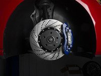 ES#2972926 - 011149ECS01-01KT -  Front Big Brake Kit - ECS 2-Piece Cross-Drilled & Slotted Rotors (345x30)  - BLUE Calipers -- Upgrade your stopping power with R model front brakes! - Assembled By ECS - Volkswagen