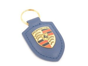 ES#2748378 - WAP0500950E - Dark Blue Crested Key Fob - Key ring to organize all of your keys, while showing Zuffenhausen pride - Genuine Porsche - Porsche