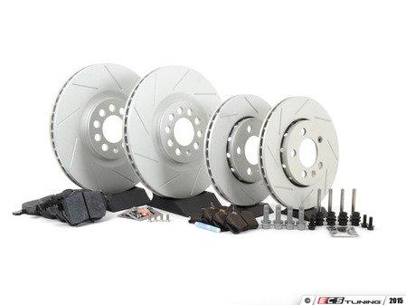 ES#2581487 - 1J0698202KT1 - Performance Front & Rear Brake Service Kit (312x25/256x22) - Featuring ECS GEOMET slotted rotors and Hawk HPS pads. - Assembled By ECS - Volkswagen