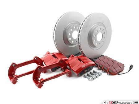 ES#2788463 - A38VBBKKT2 - Front Big Brake Kit - Stage 2 - Tornado Red calipers - Plain rotors (340x30) - Upgrade to the stopping power of the Audi S3 - Assembled By ECS - Audi