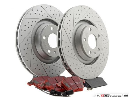 ES#2631407 - 4F0615301GKT10 - Performance Front Brake Service Kit - Featuring ECS GEOMET Drilled & Slotted rotors and EBC RedStuff pads - Assembled By ECS - Audi