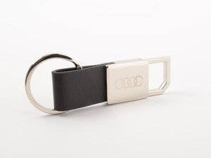 ES#2968903 - ACMAHK306 - Audi leather key holder - (NO LONGER AVAILABLE) - Leather & stainless key holder with Audi rings - Genuine Volkswagen Audi - Audi