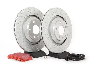 ES#2631409 - 4F0615601FKT5 - Performance Rear Brake Service Kit - Featuring ECS GEOMET Drilled & Slotted rotors and EBC Redstuff pads - Assembled By ECS - Audi