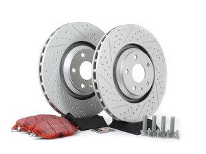 ES#2952004 - 1K061530KT1 -  Front Brake Service Kit (340x30) - Featuring ECS GEOMET dimpled and slotted rotors and EBC Redstuff pads - Assembled By ECS - Volkswagen