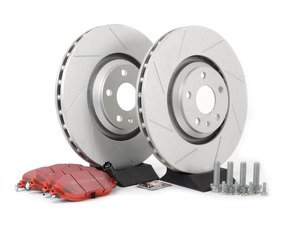 ES#2952010 - 1K061530KT2 -  Front Brake Service Kit (340x30) - Featuring ECS GEOMET slotted rotors and EBC RedStuff pads - Assembled By ECS - Volkswagen