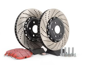 ES#3006112 - 1K061530KT3 -  Front Brake Service Kit (340x30) - Featuring ECS Cross-Drilled & Slotted 2-Piece Brake Rotors and EBC redstuff pads - Assembled By ECS - Volkswagen