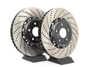 ES#2972827 - 013928ecs01KT -  Front Cross-Drilled & Slotted 2-Piece Semi-Floating Brake Rotors - Pair (340x30) - Direct bolt-on replacement - Save 10.30lbs of unsprung weight for enhanced performance! - ECS - Volkswagen