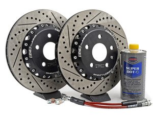 ES#3006382 - 000036ECS02AKT1 - Rear Brake Kit - Stage 1 - 2-Piece Cross Drilled & Slotted Rotors (310x22) - Upgrade your brake system with 2-piece rotors and stainless steel lines - ECS - Audi