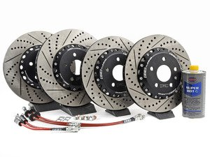 ES#3006380 - 013928ECS01KT4 - Front & Rear Brake Kit - Stage 1 - 2-Piece Cross Drilled & Slotted Rotors - Upgrade your brake system with 2-piece rotors and stainless steel lines - ECS - Audi