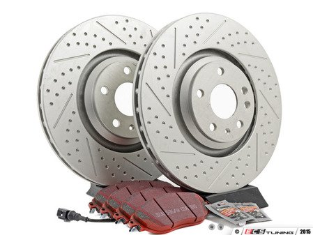 ES#2975829 - 1K0615301ADDKT4 - Performance Front Brake Service Kit - Featuring ECS GEOMET Dimpled & Slotted rotors and EBC RedStuff pads - Assembled By ECS - Audi