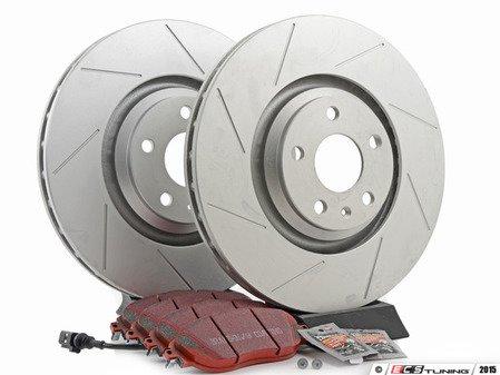 ES#2975828 - 1K0615301ADDKT3 - Performance Front Brake Service Kit - Featuring ECS GEOMET Slotted rotors and EBC Redstuff pads - Assembled By ECS - Audi