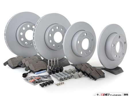 ES#2762637 - 1K0615301AAKT14 - Front & Rear brake service kit (288x25/260x12) - Featuring Zimmermann rotors and Vaico pads - Assembled By ECS - Volkswagen