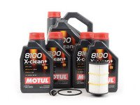 ES#2777609 - G0521951LKT3 - Oil Service Kit - Premium With Magnetic Drain Plug - Includes 9 liters of Motul 8100 X-Clean+ Oil (5w-30), oil filter, magnetic drain plug, and drain plug washer - Assembled By ECS - Audi