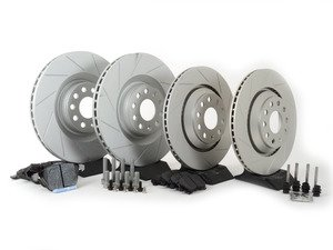 ES#2702181 - 1K0615301M - Performance Front & Rear Brake Service Kit - Performance brake upgrade all around featuring ECS GEOMET slotted rotors and Hawk HPS performance brake pads - Assembled By ECS - Volkswagen