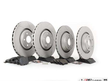 ES#2836935 - 8J0615301GKT6 - Performance Front & Rear Brake Service Kit - Featuring ECS GEOMET Slotted rotors and Hawk HPS pads - Assembled By ECS - Audi