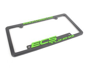 ES#2189943 - ECS-LP-FRAME-GRN - ECS Tuning License Plate Frame - Green - Black fade resistant plastic frame with raised letters - ECS - Audi BMW Volkswagen Mercedes Benz MINI Porsche